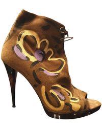 Burberry Lace Up Boots - Multicolour