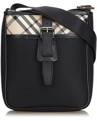 Lyst - Burberry Colorblock Embossed Suede   Housecheck Buckle Bag a5f11def55