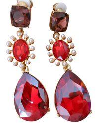 Oscar de la Renta Crystal Earrings - Red