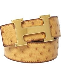 775246aa17 Hermès - Vintage H Beige Ostrich Belts - Lyst