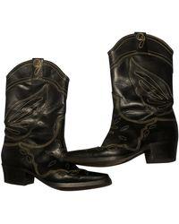 Ganni Leather Cowboy Boots - Black