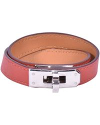 Hermès - Kelly Double Tour Red Leather Bracelets - Lyst