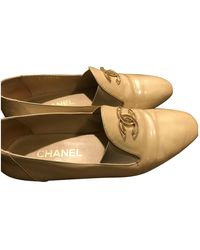 Chanel Beige Leather Flats - Natural