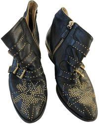 Chloé Susanna Leather Biker Boots - Black