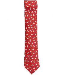 Hermès Cravates en Soie Rouge