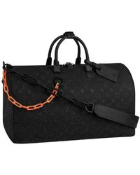 Louis Vuitton Keepall Black Leather Bag