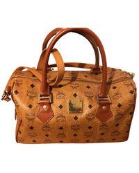 MCM Boston Leather Bowling Bag - Brown