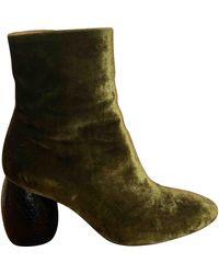 Dries Van Noten Khaki Velvet Ankle Boots - Green