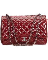 a879ebc0d4e81e Chanel - Red Quilted Patent Leather Maxi Classic Double Flap Bag - Lyst