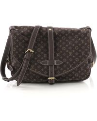 7f761c7e61bd8 Louis Vuitton Pre-owned Saumur Cloth Crossbody Bag in Brown - Lyst