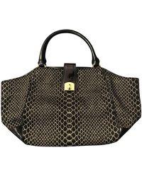 Sergio Rossi Patent Leather Handbag - Black