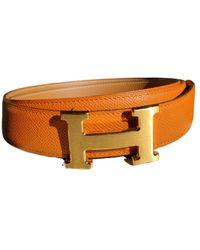 Hermès H Leder Gürtel - Orange