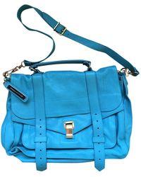 Proenza Schouler Bolsa de mano en cuero turquesa PS1 Large - Azul