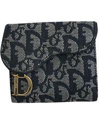 Dior Saddle Leinen Portemonnaies - Blau
