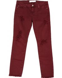 IRO - Burgundy Cotton - Elasthane Jeans - Lyst