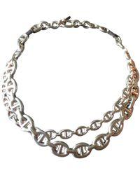 Hermès - Chaîne D'ancre Silver Silver Necklace - Lyst