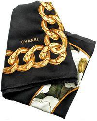 Chanel \n Black Silk Scarf