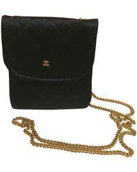 Chanel Vintage Black Cloth Clutch Bag