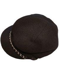 Chanel Sombrero en lana negro