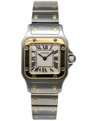 Cartier Santos Galbée Beige Gold And Steel Watches - Natural