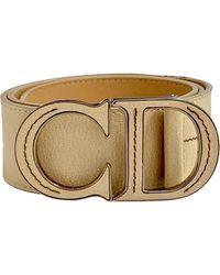 Dior Beige Leather Belt - Natural