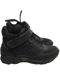 Chanel Ankle Strap Black Leather Sneakers