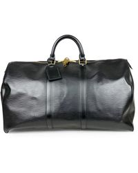 Louis Vuitton Borsa da viaggio in pelle nero Keepall