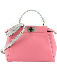 Fendi Peekaboo Mini Pocket Pink Leather Handbag