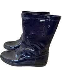 Jil Sander Patent Leather Wellington Boots - Blue