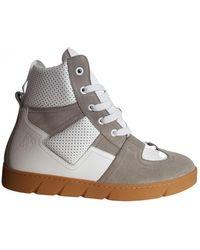 Loewe Leather High Trainers - White
