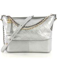 6b1def64e88fd7 Chanel - Pre-owned Gabrielle Silver Leather Handbags - Lyst