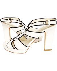 Sergio Rossi - Pre-owned White Leather Sandals - Lyst