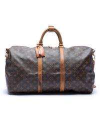 Louis Vuitton Keepall Leinen Reise Tasche - Braun