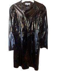 Roland Mouret Leather Coat - Black