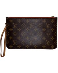 Louis Vuitton Pochette Neverfull de Lona - Marrón