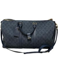 Louis Vuitton Sac Keepall en Denim Marine - Bleu