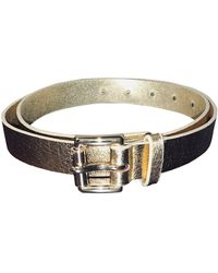 Michael Kors Gold Leather Belts - Blue