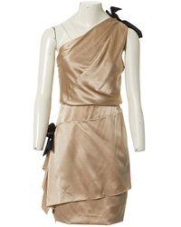 Chanel Robe en Soie Beige - Neutre