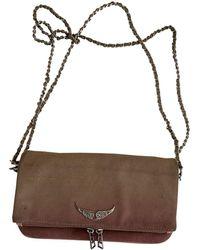 Zadig & Voltaire Rock Beige Suede Clutch Bag - Natural