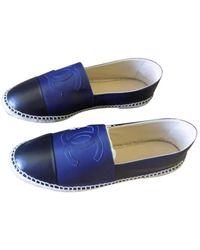 Chanel Leder Espadrilles - Blau