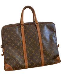 Louis Vuitton Sac Porte Documents Voyage en toile - Marron