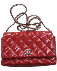 Chanel Wallet On Chain Patent Leather Crossbody Bag - Red