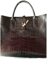 Longchamp Roseau Leder Handtaschen - Schwarz