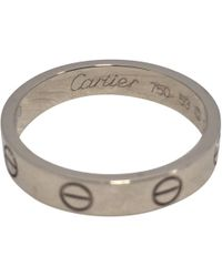 Cartier - Love Silver White Gold Ring - Lyst