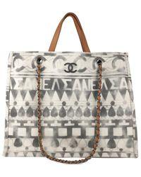 Chanel Deauville Cloth Tote - Grey