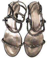 Chanel Leather Sandal - Metallic