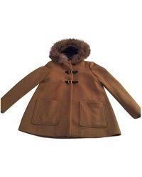 Maje Camel Wool Coats - Brown