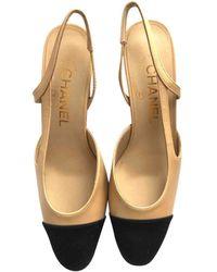 Chanel Escarpins Slingback en Cuir Beige - Neutre