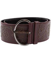 Oscar de la Renta Burgundy Leather Belt - Multicolour