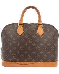 Louis Vuitton Bolsa de mano en cuero marrón Alma
